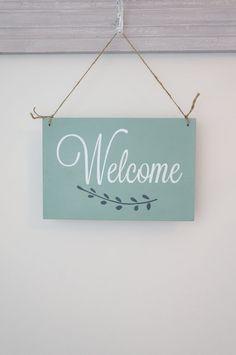 Welcome Sign Hangind Door Sign Custom Sign Wall Art by InMind4U