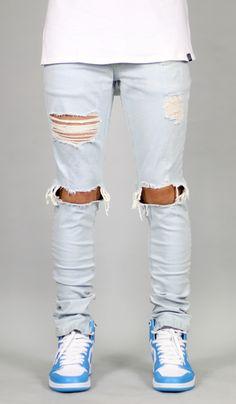 White Blue Mufa Zipper Jean
