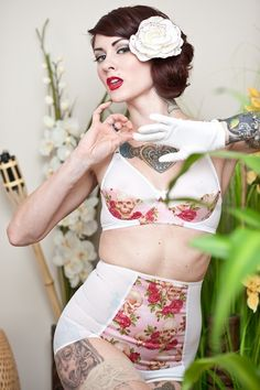 Sexpot and Priscilla - underwire bra and ultra high waisted panties in white mesh and pink skull and roses print
