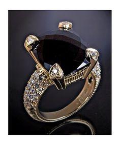 Judith Ripka : black onyx and pave diamond 'Lola' ring : style # 309359001