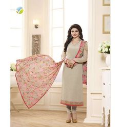 Attractive Designer Vinay Sikina Straight Suit In Cream & Pink Color
