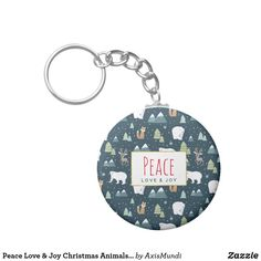 Peace Love & Joy Christmas Animals Pattern Keychain Arctic Polar Bears, Christmas Animals, Christmas Stuff, Love Joy Peace, Holiday Themes, Winter Trees, Forest Animals, Holiday Festival, Create Your Own