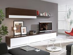 Wenge and White TV Unit and Storage System - Contemporary wall and floor storage system in wenge and white