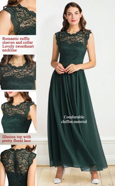 Formal Wedding Party Dress Lace Chiffon Long Bridesmaid Dress  50% off with code:  50JG8YVZ Reg. Price: $39.69 Final Price: $19.85