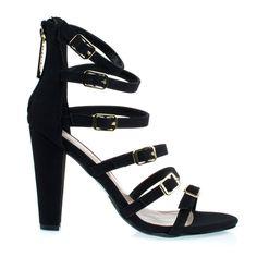Devon22Black #high #heel #sandal #open #toe #gladiator #buckle #strappy #women #shoes #chunky #black