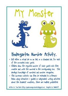 Number recognition activity - Make your monster by rolling the dice to decide how many of each body part.  Count the # on the dice, write the number in appropriate box and draw that many parts (eyes, ears, arms or legs) on your monster.  --for butterfly unit--
