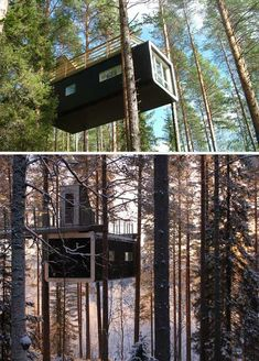 Not to be outdone by the Mirror Cube or Bird's Nest, this latest lofted tree hotel room in Sweden seems to shoot through its forest surroundings – a suspended steel bullet in the sky.