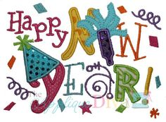 Happy New Year Digital Embroidery Design by theappliquediva, $2.99