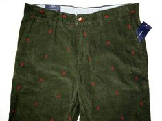 Tommy Hilfiger men's corduroy embroidered H pants size 35x30 slim fit NWT  #TommyHilfiger #Corduroys