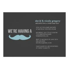 Mustache baby shower invites. @Stacey Campbell