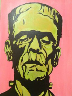 Original acrylic canvas painting, signed & dated on back of artwork by Emily Prothero. One of a kind creation that will brighten any room. Bubble gum pink and lime green Frankenstein skin makes a statement as a pop art piece. Coated in a UV glossy varnish for added depth, shine & protection. Will arrive safely packed and ready to hang. Canvas measures 18 x 24. Ready to ship in 3-5 days.