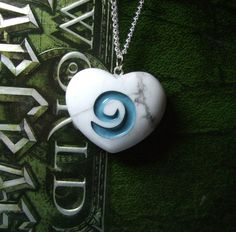 I Heart World of Warcraft inspired Hearthstone REAL STONE pendant with chain or cord on Etsy, $22.00