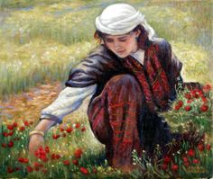 "Irina Karkabi ""Picking flowers"" / palestine Palestine History, Palestine Art, Arabian Women, Arabian Art, Art Optical, Painter Artist, Sand Art, Art World, Modern Art"