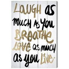 """Oliver Gal Laughs Wall Art on Wood Size: 16"""" H x 24"""" W"""