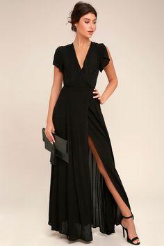 a72e314dceb393 Heart of Marigold Black Wrap Maxi Dress Black Maxi Dresses, Short Sleeve  Dresses, Short