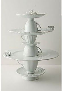 cupcake stand! Would be cute with color too! And Perfect for tea parties or an Alice in wonderland party.