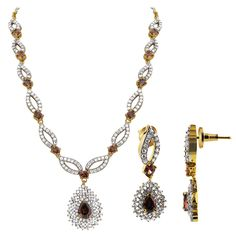 Gold Plated Oval and Teardrop Lavender Color with Clear CZ Earrings Necklace Set. The necklace 15 to 17 inch long adjustable and comes with S-hook clasp. The ea