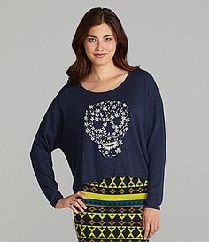 Chelsea and Violet Embroidered Skull Sweater #Dillards