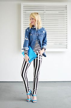 denim on stripes on stripes outfit, how to style stripes, how to style a denim jacket, capsule wardrobe, new ways to style stripes, horizontal vertical stripes. black and white, street style, crazy style, unique, original outfits