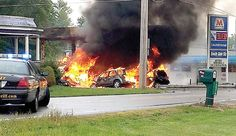 Five people suffered minor injuries in this three-vehicle crash Monday afternoon at the intersection of U. 68 and Ohio 81 in Dunkirk, sparking a fire at a Marathon gas station. The fire. Courier News, Marathon Today, Gas Station, Ohio, Vehicle, Fire, People, Vehicles, Folk