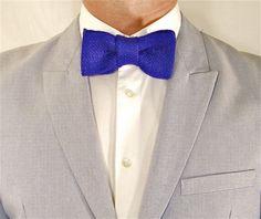 Royal Blue Burlap Bow Tie