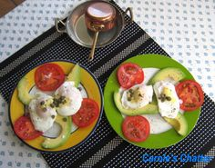 "Carole's Chatter: Poached Eggs on Avocado & Tomato with Capers and Mustard ""Hollandaise"""