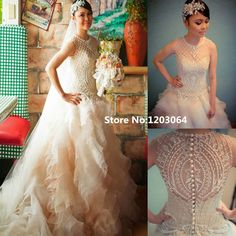 Robe De Mariage Princess Wedding Dress 2016 New Style Vestidos De Noiva O-neck White Pearls China Wedding Dresses Julie Vino
