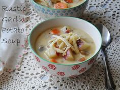 Rustic Garlic Potato Soup - A creamy soup recipe for dinner that fills you up and keeps you warm and cozy.