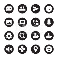 Chat App Icons Black Circle Series Vector EPS File.