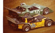Ed Howe and Pete Parker vintage late model dirt race cars at the Pontiac superdome