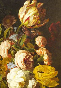 Tobias Stranover. Detail from Still-Life with Flowers, 1700.