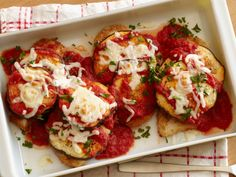 Lightened Chicken and Eggplant Parmesan recipe from Food Network Kitchen via Food Network
