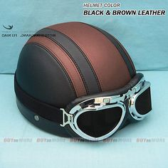 Brand-New DOT ECE Motorcycle Open Face Half Leather Helmet With Visor & Goggles