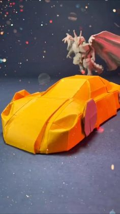 Paper Car, 3d Paper, Paper Crafts, Origami Car, Origami Folding, 5 Minute Crafts Videos, Craft Videos, Origami Birthday Card, Craft Instructions For Kids
