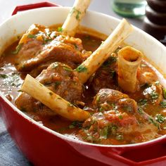 Try Lisa Faulkner's Moroccan lamb shanks recipe and more simple Moroccan recipes at Red Online. Lamb Recipes, Meat Recipes, Slow Cooker Recipes, Dinner Recipes, Cooking Recipes, Healthy Recipes, Healthy Food, Recipies, Couscous