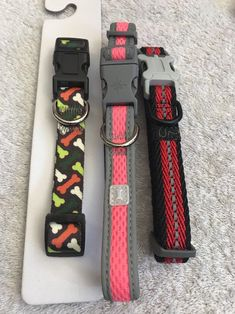 Dog Collar Size S Lot Of 3 Red Multi Color Bones Reflective #Unbranded