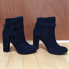 Steve Madden black booties The LOREEN high-heeled suede bootie is taken to the next level with a suede tie that wraps around the ankle. Never worn before brand new! Steve Madden Shoes Ankle Boots & Booties