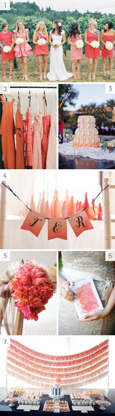 #ombre wedding inspiration #coral #color