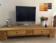 Palettenmöbel Europalette TV Lowboard TV Schrank mit 2 Schubladen | eBay