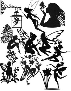 Psd spring silhouettes mega pack silhouette pinterest free die cut silhouette fairies a x 10 assorted for card making fairy jars reheart Image collections