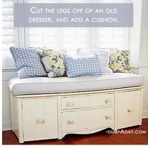 Cut the legs off a dresser and make a sitting area!  Pretty cool!