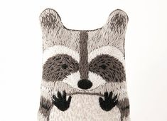 While away the winter nights with a #DIY raccoon doll embroidery kit. #etsy