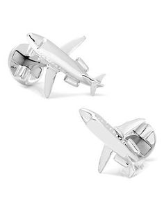 Whether you are a pilot or own your own private jet, these sterling silver jet cuff links are the perfect way to show your love of flying. Sterling Silver Appro