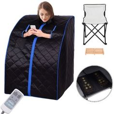 Giantex Portable Far Infrared Spa Sauna Full Body Slimming Weight Loss Negative Ion Detox Therapy in Home Personal Sauna w/Heating Foot Pad and Folding Chair (Black) Portable Infrared Sauna, Portable Steam Sauna, Foot Massage, Weight Loss Before, Transformation Body, Detox, Full Body, Saunas, Fancy