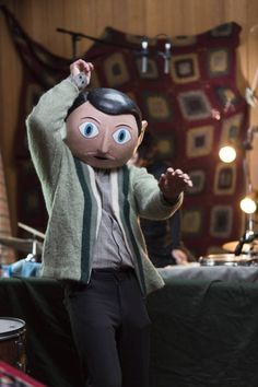 Michael Fassbender in Frank. I have mugged up all the songs. I love this movie.