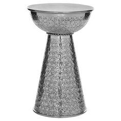 Polished aluminum stool.    Product: Stool Construction Material: Polished aluminum    Color: Silv...