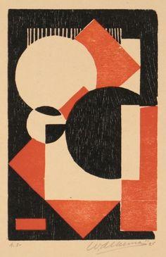 Wobbe Alkema: alleen gebruik van ronde en vierkante vormen. maar ze zijn zo op het doek gezet dat het erom vraagt om goed naar te kijken.