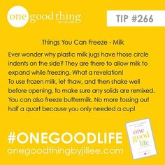 Did you know you can freeze milk? Such a great way to save money when you find it on sale!||For more great tips be sure to check out my book, One Good Life! You can purchase it through the link in my profile. #shamelessplug