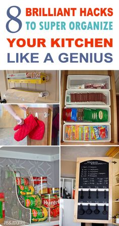 These are the BEST KITCHEN ORGANIZATION hacks!! They'll make my kitchen work so much easier. Pinning for later!!!