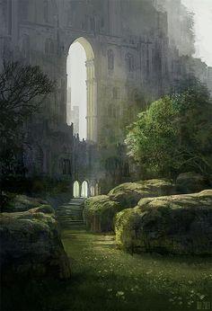 Pin by ♡♡♡ Landscape Ideas ♡♡♡ on Fantasy Landscape Fantasy City, Fantasy Places, Sci Fi Fantasy, Fantasy World, Fantasy Forest, Dark Fantasy, Fantasy Concept Art, Fantasy Artwork, Fantasy Landscape